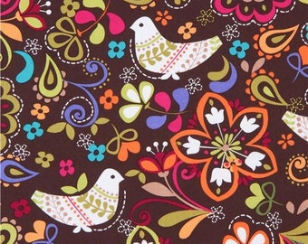 145033 Michael Miller bird fabric Espresso Birds of Norway