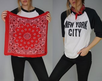 Vintage Red Paisley Bandana | Hav-A-Hank Crafted with Pride in America | 100% Cotton Made in USA RN15187 | Handkerchief Scarf Necktie |