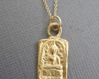 Yoga Jewelry, Gold Buddha Jewelry, Meditating Buddha pendant necklace, Buddhist Necklace, Meditation, Yoga necklace, Spritiual necklace
