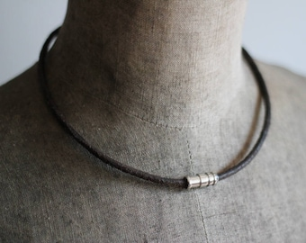 Mens Cowhide Leather Cord Necklace, Mens Leather Necklace, Masculine Necklace, Magnetic Clasp Necklace, Mens Jewelry, Bullet