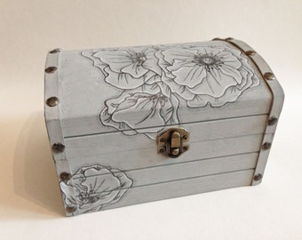 Poppy Floral Treasure Chest Box: use for cards, ring bearer, gifts, keepsakes and so much more