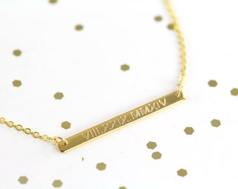 Roman Numeral Gold Bar Necklace, Gold Skinny Bar Necklace - Engraved Jewelry 18k Gold