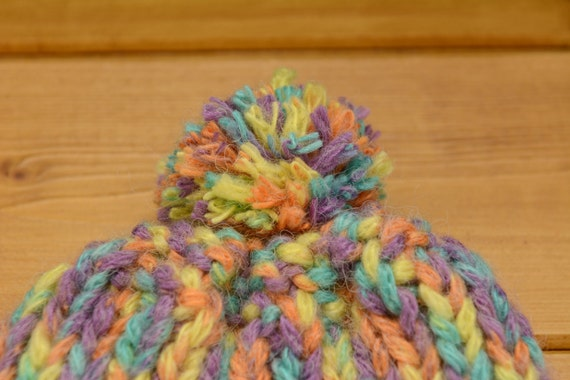 Toddler knitted ribbed bobble hat in bright pastel colours