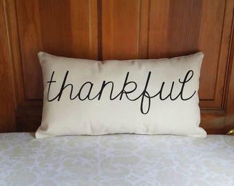 Thankful Pillow   Modern Farmhouse Pillows   Farmhouse Decor Rustic Country   Gift for Her   Autumn Pillow   Pillows with Words   Fall Decor