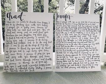 custom handwritten vows// calligraphy vow art- set of 2