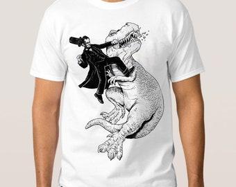 Abraham Lincoln vs Dinosaur T-shirt, All Sizes