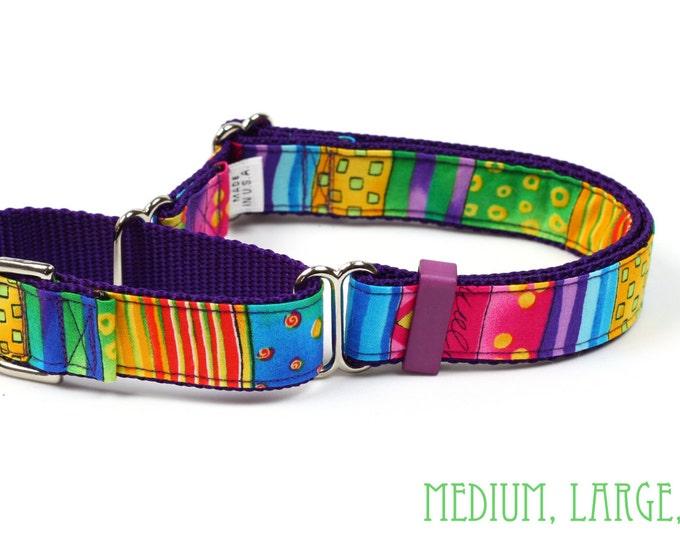Martingale Dog Collar - Happy Go Lucky Stripe - Small, Medium, Large & X-Large