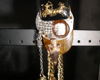 Steam Punk Pendant  Bottle macho Warrior, chariot,  arrows -  trashionteam, paganteam, OlympiaEtsy, etsyBead, WWWG, FunkyAlternativeJewelry