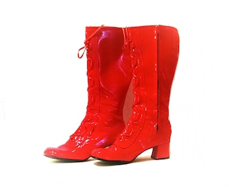 Vintage red faux leather gogo platform glow rave club kid lace up boots