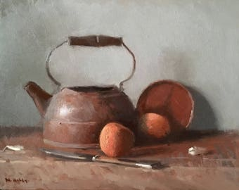 Still life painting - copper kettle and peaches
