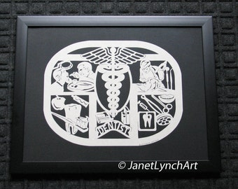 Dentist Plaque  - Dental -  Scherenschnitte - Hand Paper Cutting Art signed and dated By Janet Lynch - Framed