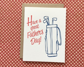 Golf Father's Day - letterpress card