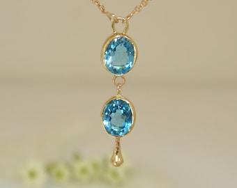 Topaz Necklace , Blue Topaz Pendant , London Topaz Pendant , December Birthstone Necklace , December Birthstone, Gold And Topaz Pendant