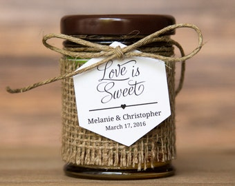 Love is Sweet Tag - Hexagon Tag - Honey Wedding Favor Tags - Honey Jar Wedding Favors - Honey Jar - Wedding Favor Tags - Hex Tags