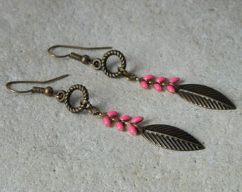 Earrings chains enamel ears fuchsia *.