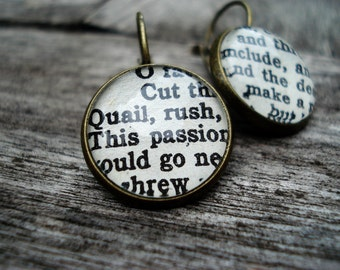 Shakespeare Earrings, Vintage Book Jewellery, English Literature Gift, Book Gift, Old Books, Literary Jewellery, Bronze Earrings, Book Gift