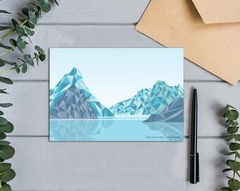 Milford Sound, Mitre Peak, New Zealand Geometric Mountain Design Greeting Card