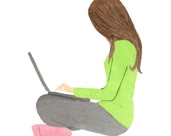 Girl With Laptop Clip art, Watercolor, Brunette, Girl Boss, Studying Girl, Blogger, Illustration, Png