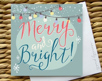 Merry and Bright Christmas Card, Holiday Cards, Holiday gift wrapping, holiday boxed card set, Christmas sticker set, retro greeting card