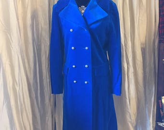 "Vintage 60s/70s Electric Blue Velvet ""Austin Powers"" Coat"
