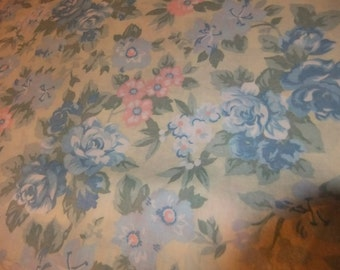 Light Yellow, Blue, Pink, and Green Floral Cotton Print by Cranston Print Works