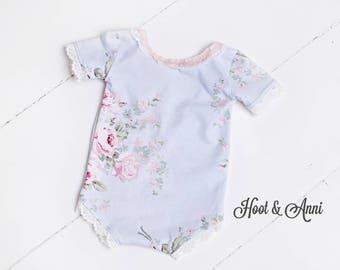 Floral Romper - newborn romper, sitter romper, blue and pink floral, blue pink baby romper, newborn prop, sitter prop, photography prop