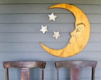 Moon Sign Nursery Decor Crescent Moon Lunar Man in the Moon Large Scale Vintage Style Moon Sign Photo Prop Halloween Party Decor