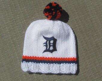 DETROIT TIGERS Hand Knit Baby Hat - Detroit Tigers Baby Hat - Michigan Hand Knitted Baby Hat