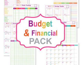 Printable budget planner PACK - printable bill tracker - printable bill organizer pdf - printable finance sheets
