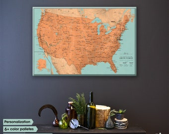 Creative US Map With Push Pins / Personalized gift /  Unique Pinnable Map For Often Travellers / Push Pin Map Canvas  / Push Pin Map