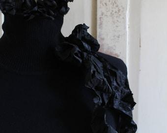 Victorian Style Black Polo Neck Sweater Jumper Black Antique Silk Taffeta Ruffle Corsage Cotton Short Boxy Deep Welt Hem 3/4 Raglan Sleeves
