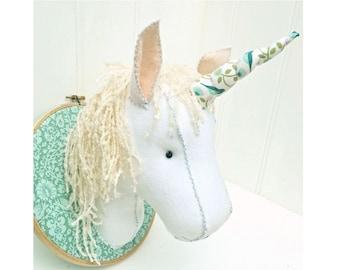 Faux Taxidermy Felt Unicorn Head Pattern pdf instant download