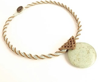 Minimalist Kumihimo Necklace with Jasper Pendant, Macrame Bail, Mint Chocolate Necklace
