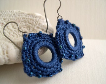 True blue square crochet earrings - Lacy fashion trends - Girlfriend birthday gift - Christmas gift for her - Unique crochet earrings
