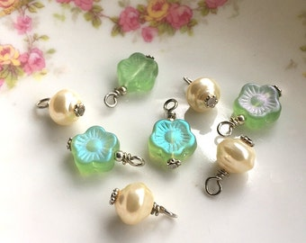 Bead destash 8 handbeaded drops dangles for jewelry making, green glass flower beads and vintage glass pearls, silver wires Lot #3