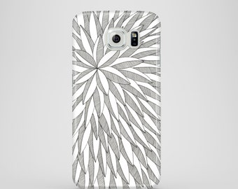 Leaves phone case / black and white phone case / Samsung Galaxy S7, Samsung Galaxy S6, Samsung Galaxy S6 Edge, Samsung Galaxy S5 / abstract