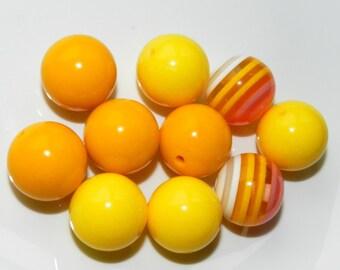 10 Yellow Bubblegum Beads Round 20mm Chunky Beads For Jewelry Making DIY Beads Craft Supplies Yellow 20mm beads