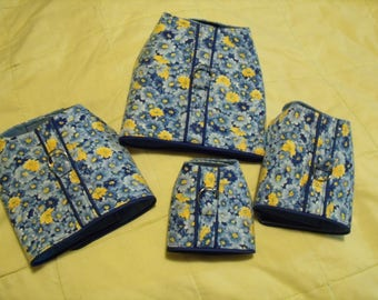 harness-blue and yellow flowers with blue piping