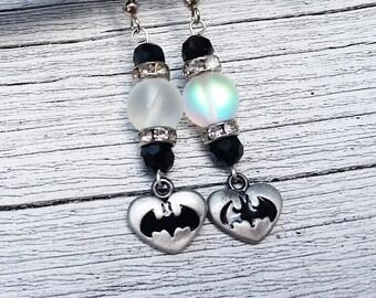 Batman Gifts, Geek Jewelry, Crystal Jewelry, Black Earrings, Crystal Earrings, Beaded Earrings, Nerd Jewelry, Batman Earrings, Nerdy Jewelry