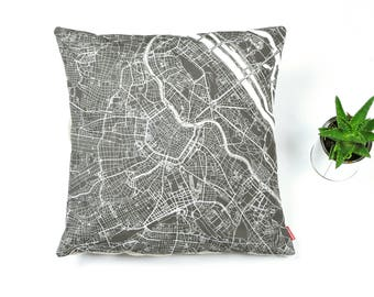 VIENNA Map, Throw pillow for your home decor,  Map of VIENNA Cushion Cover, Custom Wedding Pillow Cover, anniversary gift, Colorful Pillow