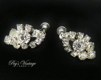 1950's Silver Tone Rhinestone Dangle/Drop Earrings - Screwback Bridal Prom Earrings