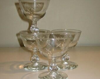 Vintage X Etched Sorbet or Champagne Glasses, Set of 4 Goblets