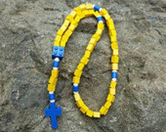 First Communion Gift Rosary Made with Lego® Bricks - Yellow and Blue Catholic Rosary