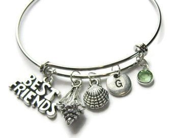 Beach Theme Bangle Bracelet, Best Friend Bangle, Best Friend Bracelet, Beach Bracelet, Shell Bracelet, Beach Friends Bracelet, Personalized
