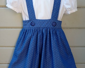 Vintage School Girl Skirt with Peter Pan Collar Blouse Made to order in sizes 2 through 8