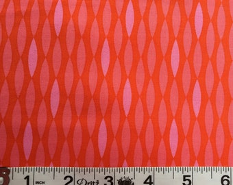 Maricella by 3 Wishes Fabric Red/Coral Mod Print Stripe
