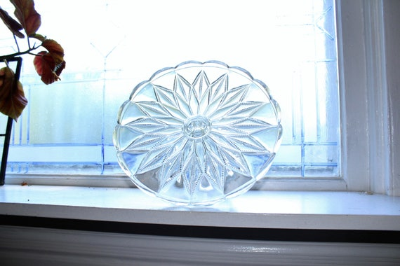 Vintage Glass Cake Stand Scalloped Edge