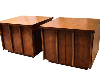 Pair Mid Century Lane Walnut Nightstands Side Tables