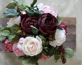 Burgundy White Pink Wedding Bouquet, Bridal Bouquet, Silk Bridal Bouquet, Bouquet, Wedding Flowers, Peony Bouquet, Boho Bouquet
