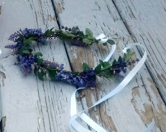 Lavender Flower Crown 2018 wedding Trends Rustic artificial, silk florals little girl Halo purple Bridal party Accessories Hair Wreath